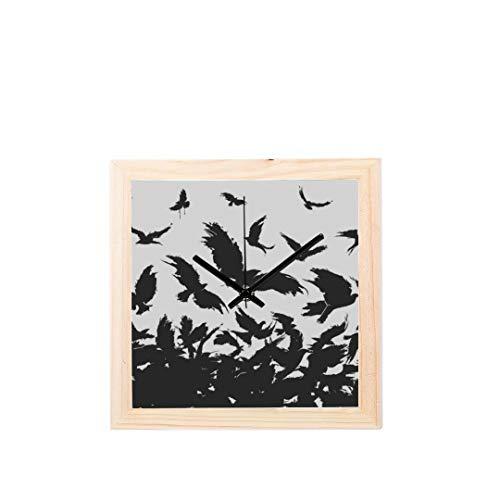 Enhusk Kleine Wanddekor Uhr ungewöhnlich dunkel schwarz Vogel gewalttätig Nicht tickt Quadrat still aus Holz Diamant Display Wanduhren Malerei Zifferblatt Küche Schlafzimmer Dekor Wanduhren -
