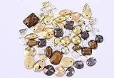Crystals & Gems UK 50G (300Pcs) Clous Métalliques Gemmes En Forme de Pyramide Larme Ronde Carrée Á Coudre/ Épingler