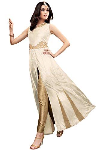 Designer Desk Graceful Salwar Suit - Semi stitched Partywear Slit Anarkali Dress in Bollywood Style - Golden