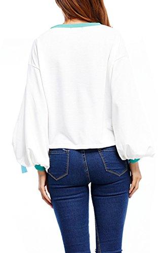 Beunique Femme Sweats à lacets Manches Longues Col Rond Automne Hiver Fashion Tops Sport Blanc