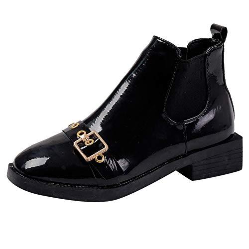 Damen Schuhe Mädchen Schnallen Schwarz Lackschuhe Flach Western Stiefel Martin Stiefel Wild Freizeitschuhe Kurze Stiefel