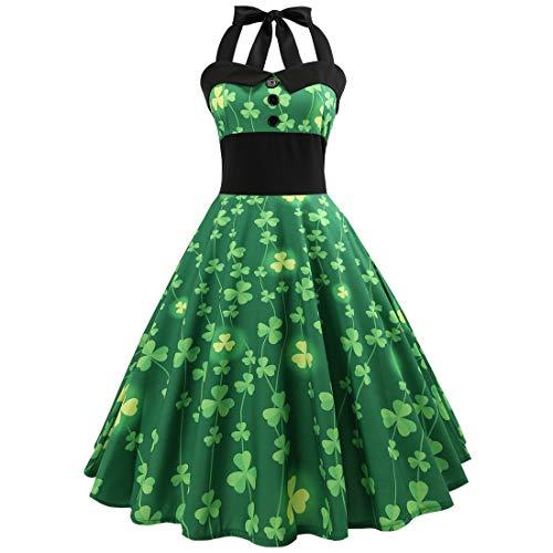 Magiböes Vintage Grün Klee Kleeblatt Druck Halfter Verbandkleid Frauen Mädchen Irische St. Patrick's Day Party Kostüm Dress Riemchen Hohe Taille Swing Kleid - Irische Mädchen Kostüm