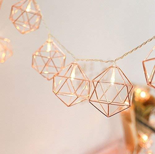 EONHUAYU Metall Lichterkette, 1M 10LED Geometrische String Lights Rose Gold Lichterketten Batteriebetrieben für Weihnachten Home Party Dekoration