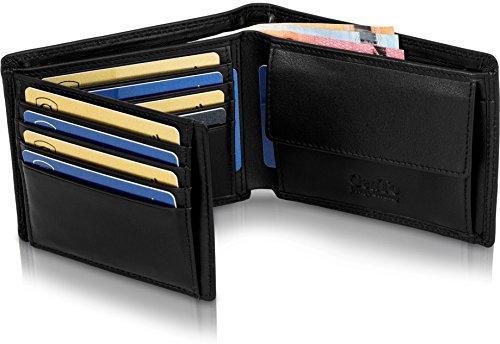 Preisvergleich Produktbild GenTo® Herren Geldbörse Manhattan Nappa-Leder-Optik mit Münzfach TÜV geprüfter RFID, NFC Schutz Männer | Design Germany
