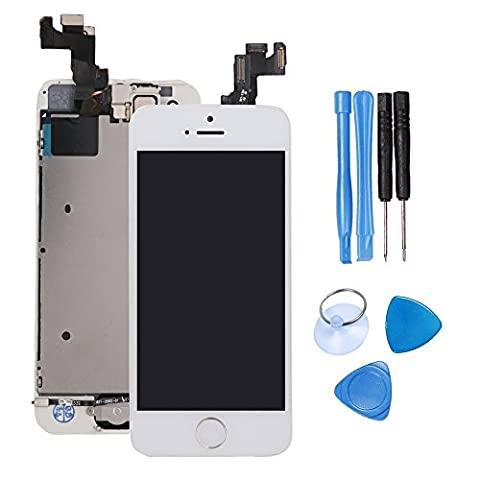 LCD Screen Replacement Touch Digitizer - For iPhone 5S White With Silver button Full Display Assembly with Home Button+Front Facing Camera Proximity Sensor+Ear Speaker+Full Repair Tools+Screen