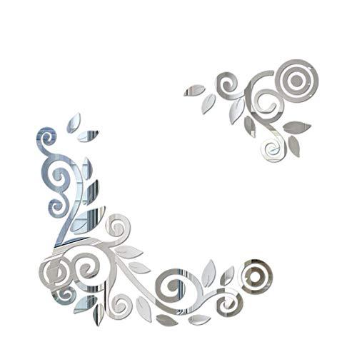YWLINK 2PC / 1Set 3D DIY Forma De La Flor De AcríLico Etiqueta De La Pared Pegatinas Modernas DecoracióN...