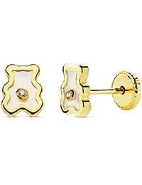 Pendientes bebé niña oso osito oro amarillo 18k nácar y piedra circonitas 6x5 mm rosca