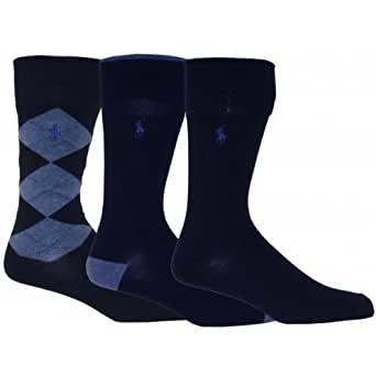 Polo Ralph Lauren 3-Pack Argyle, Heel & Toe and Solid Socks, Navy Size