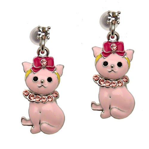 Acosta-Smalto rosa e cristalli Swarovski-simpatico gatto orecchini (argento)-Confezione regalo-Black Friday s