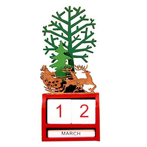 LoveLeiter Weihnachten Mini Holz Kalender Weihnachtsdekoration Handwerk Geschenk Weihnachtsdeko Weihnachten Geschenk Idea Weihnachtskrippe Aus Holz Mit Bunten Spielfiguren(C,Freie Größe)