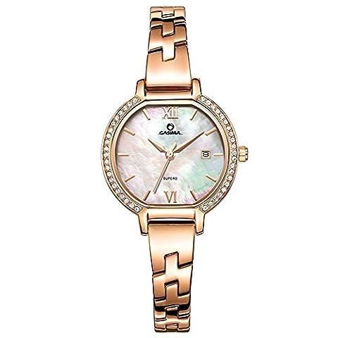 Dame Quarz-Uhr-Stahlbügel-Leder-Bügel-Schatz-Wölbungs-Diamant-Kalender-wasserdichtes Gold Silber , 2