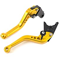 MOTO Frenos y embrague CNC Corto palanca Ajustable aluminio para sport bike HONDA CBR 600 F2,F3,F4,F4i CBR900RR CB599/CB600 HORNET CB919 VTX1300 NC700 S/X un par (F18/H626) SPL028 (GOLD)