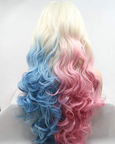 Cosplay Party Festival peluca de sirena larga onda pelo arrastre reina sintético encaje frontal pelucas...