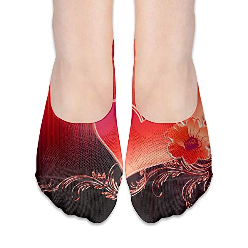 dfegyfr No Show Socks Red Heart Floral Print Low Cut Liner Socks Casual Hidden Thin Socks for Women Floral, Low Cut