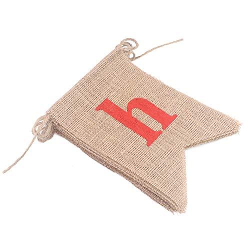 Soleebee 13 Stück Sackleinen Banner, perfekte DIY Dekoration Dreieck Flagge Wimpelkette für Hochzeit, Babydusche, Geburtstag, Party und Anderen Feiern (Happy Birthday)