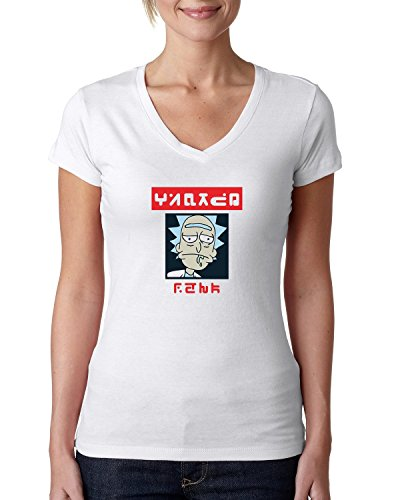 Wanted rick funny cartoon poster style Women's V-Neck T-Shirt Weiß