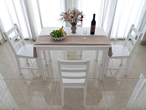 Weiße Holz-küche-stuhl (Dakea Essgruppe Tischgruppe Esstisch mit 4 Stühlen Set Weiß 108 x 65cm Holz)
