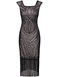Vijiv mujer 1920 Vintage Gatsby Inspirado largo moldeado de la franja de la boda vestido de
