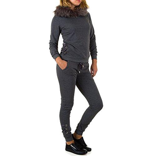 Fellimitat Kapuzen Zweiteiler Anzug Für Damen bei Ital-Design Grau