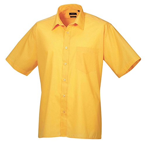Premier Workwear Herren Businesshemd Poplin Short Sleeve Shirt Sonnenblume