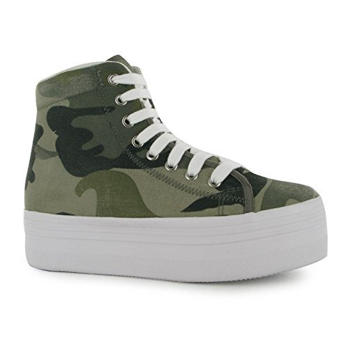 Jeffrey Campbell Play Damen Canvas Plattform Schuhe Plateau Hi Top Sneaker Militär 3 (Top Canvas Hi)
