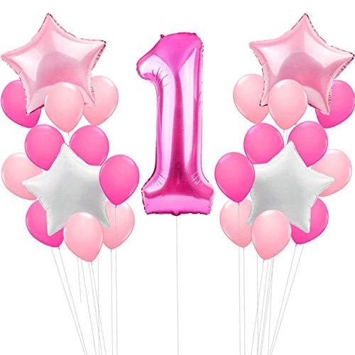 SOWEE Erster Geburtstag Geburtstag Mädchen Party Dekoration 100 cm Riesenfolie Ballon, 30pcs Latex Ballons, 4pcs Sterne Folie Ballons - für Baby-Duschen Geburtstag Jubiläum