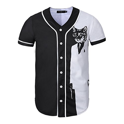Yonbii Herren Baseball-Jersey-T-Shirt Knopf Team Uniform Sport Raglan Mode Plain Tee M-4X (Raglan-baseball-jersey)