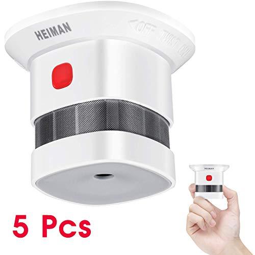 HEIMAN Rauchmelder Mini Feuermelder mit 10 Jahren Batterielaufzeit TÜV und EN14604 Zertifizierter Rauchwarnmelder mit Feueralarm und Fotoelektrischem Sensor (5er Set)