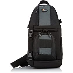 Lowepro SlingShot 102AW - Mochila para cámaras de fotos DSLR y videocámaras, negro y gris