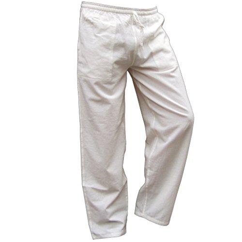 Panasiam Sommerhose, 'K', Naturalwhite, XL (Weiße Thai-yoga-hosen)