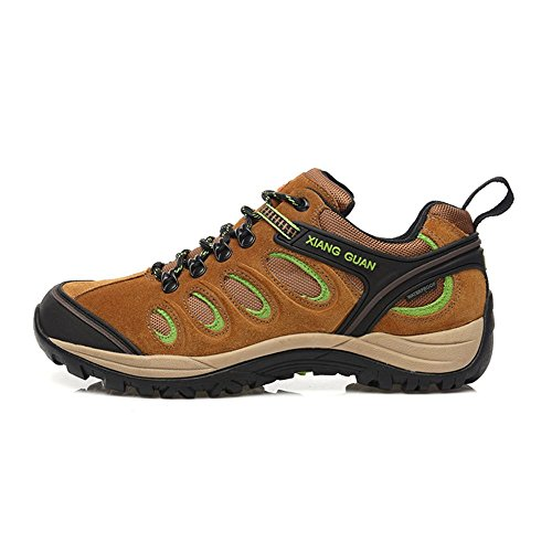 Xiang Guan Homme Low-top Lace-up Suède Imperméable Outdoor Chaussures de Randonnée Camping Walking Trekking Sneaker Marron