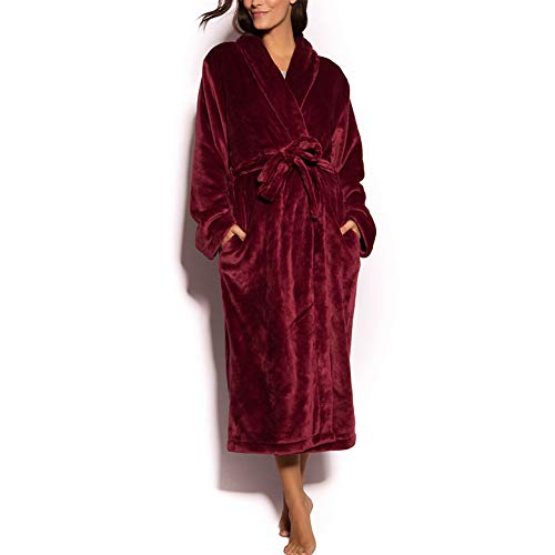 NEW DANCE Damen Pure Color Fleece Lange Robe Winter warme Bademantel Lounge Nachthemd Medium Bgd - Frauen Lange Fleece-roben Für