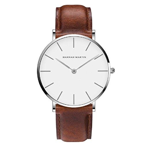 Herren Uhren,L'ananas Minimalistischer Stil Wasserdicht Anolog Geschäft Quarz PU-Leder Paare Liebhaber Armbanduhren mit Geschenkbox Wristwatches (Braun+Silber)