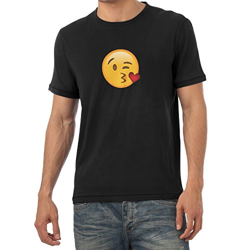 TEXLAB - Blow Kiss Emoji - Herren T-Shirt Schwarz