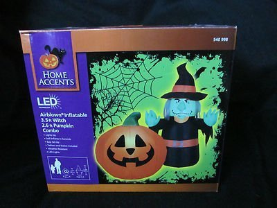 oween Airblown Inflatable - LED - Witch Pumpkin Scene by Gemmy (Gemmy Halloween)