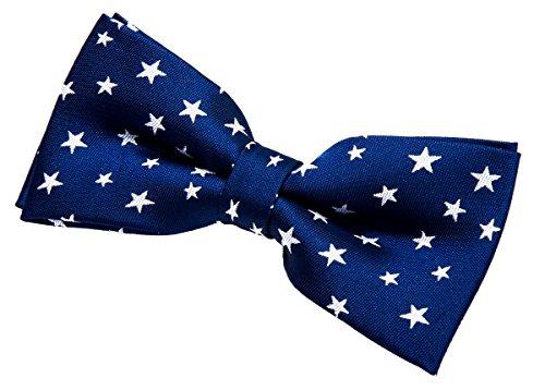 Retreez classique étoiles tissé pre-tied Nœud Papillon en microfibre (11,4cm)–plusieurs couleurs Bleu - Navy Blue with White Stars