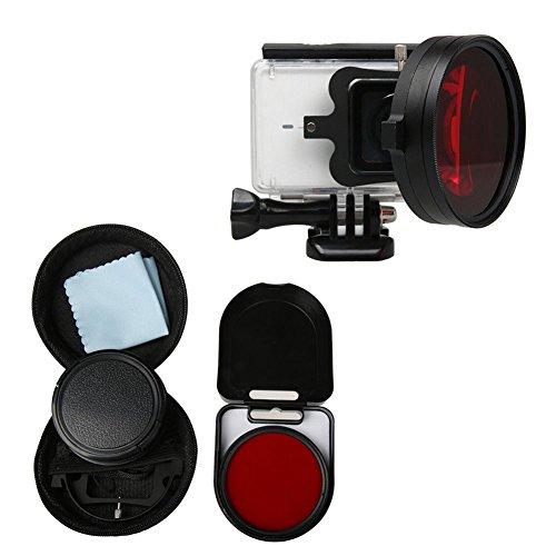 Deylaying 58mm Nahaufnahme Makro Objektiv 16X Vergrößerung für Xiaomi Yi 2 4K Action Kamera, HD Close-Up Filter Objektiv 16X Vergrößerung + RotFilter Sets Zubehör Red-kamera-filter