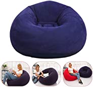 Inflatable Chair, Foldable Family Inflatable Lounge Chair Sofa with Flocking Cover for Kids, Teens and Adults,