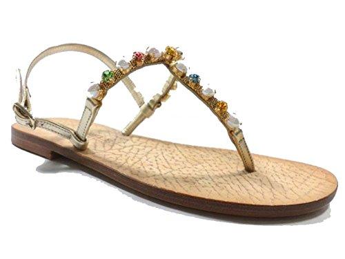 Eddy daniele 37 eu sandali donna gioiello platino pelle/cristalli swarovski ax847/ax848
