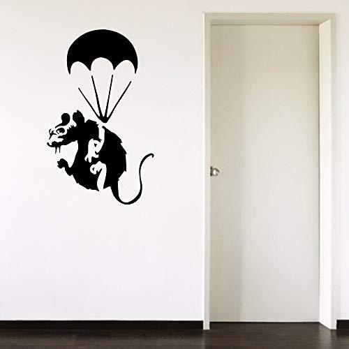 Banksy Rat Fallschirmjäger Graffiti Mouse Parachut Abziehbild Schlafzimmer Living Autocollant Wandbild Removable Vinyl ArtWandaufkleber 37X60 cm