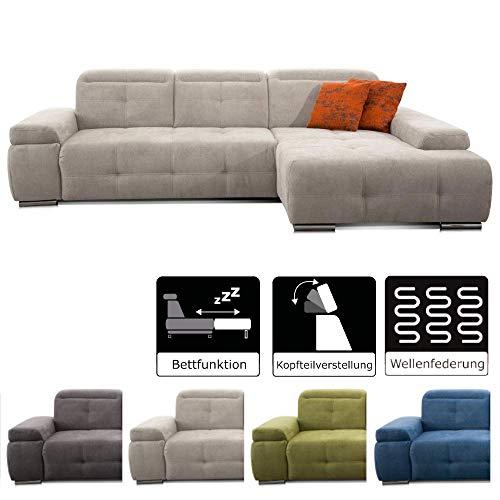 CAVADORE Schlafsofa Mistrel mit Longchair XL rechts / Große Eck-Couch im modernen Design / Mit Bettfunktion / Inkl. verstellbare Kopfteile / Wellenunterfederung / 273 x 77 x 173 / Grau-Weiß -