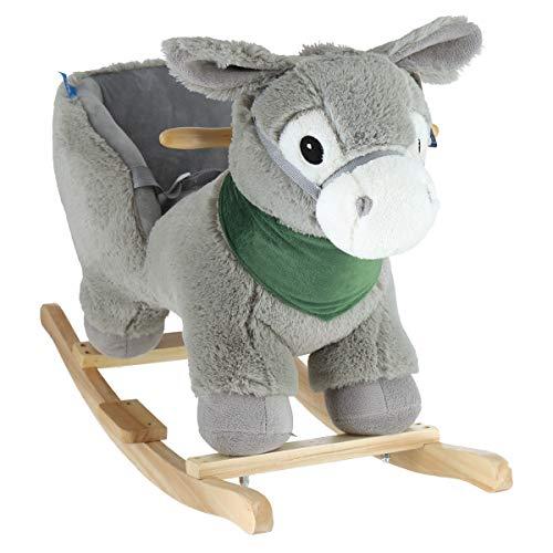 Bieco 74000421 - Plüsch Schaukeltier Esel Luca, Kinder Schaukelstuhl mit Holzgestell, Sicherheitsgurt und Rückenlehne, Schaukel Plüschtier, Schaukelesel für Babys und Kleinkinder ab 9m+