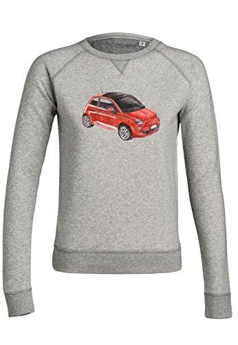 ul12 Sweat pour femmes Trips Fiat 500 in Red Heather Grey