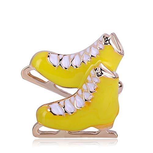 LKLKLK Mode Schwarz Rollschuhe Brosche Schlitten Schuhe Form Broschen Emaille Gold Farbe Schmuck Für Jungen Mädchen Zubehör-yellow - Farbe Schlitten