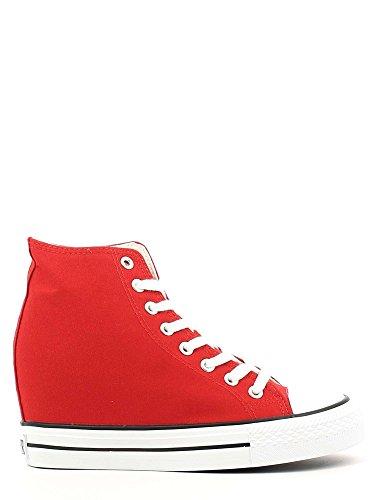 Cafènoir DG900 sneakers in canvas allacciate alte con zeppa interna Rosso