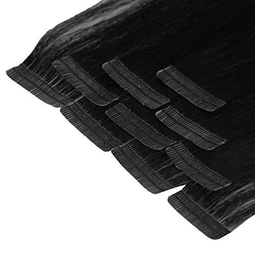 Tape In Extensions 50 cm Virgin Echthaar 10er Set Haarverlängerung Haarteile in schwarz