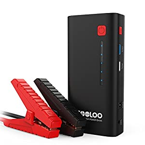 GOOLOO Arrancador de Coche 500A Pico 10000mAh Arrancador Baterias Coche (hasta 4.5L en Gasolina) Arrancador de Baterias de Coche Jump Starter con Linterna LED, Carga Rápida USB QC3.0 (37C)