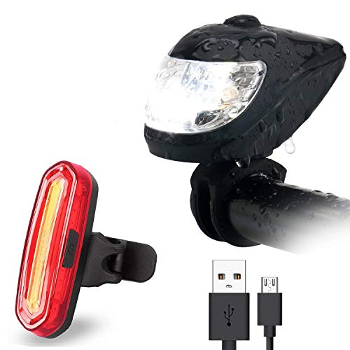 FisherMo LED Fahrradlicht Set, Wasserdichte Fahrradlampe Set Intelligentes Lichtsensor FahrradbeleuchtungFahhradbeleuchtung Fahrrad Rücklicht USB Aufladbare 400 Lumen