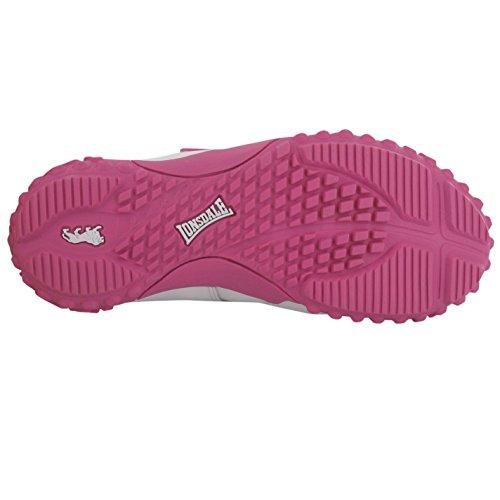 Lonsdale enfants Fulham Chaussures de sport Sport rembourré Sneaker Chaussures en cuir Blanc - Weiß/Rosa