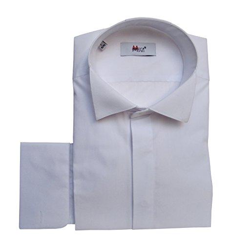 Smokinghemd Umschlagmanschetten Muga Weiß